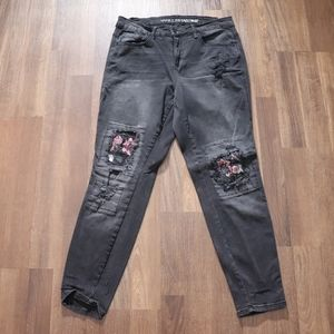 Black Acid Wash Jeans Embroidered Knee Patches